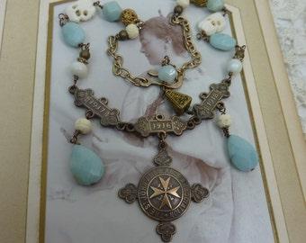 Fearless...1918  ENGLISH AMBULANCE MEDAL  vintage  antique assemblage necklace