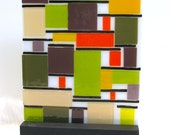 Mid Century Modern Art Glass Color Block Inspired By Mondrian Artist Signed