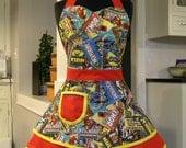 Apron-Avengers-Comic Strip Heroes Double Skirt Sweetheart Apron