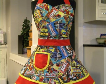 Womens Apron-Plus Size Avengers-Comic Strip Heroes Double Skirt Sweetheart Apron