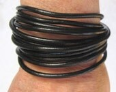 Black Skinny Leather Wrap Bracelet with brass or silver security magnet elegant fun casual classy