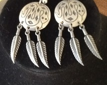 Pewter southwestern feather dream catcher earrings signed SNAKE serpent