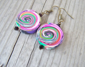 Artisan Polymer Clay Earrings Rainbow Swirls