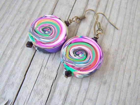 Artisan Polymer Clay Earrings Rainbow Swirls