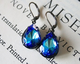 CLEARANCE - Large Bermuda Blue Rhinestone Jewels in Oxidized Brass, Faceted Jewel, Deep Blue