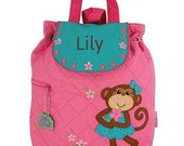 Personalized Girls Diaper Bag or Backpack Stephen Joseph Monkey Silly Girl
