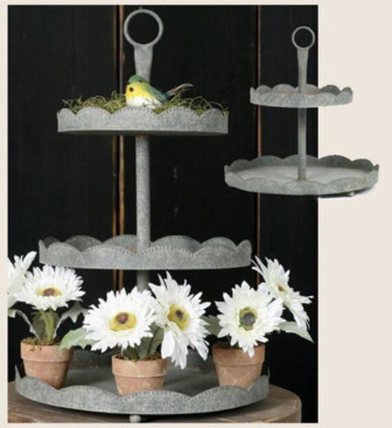 3 Tier Galvanized Tin Cupcake Stand Tray Barn Roof Tin