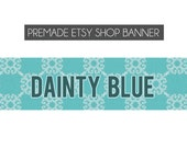 premade etsy shop banner - Dainty Blue - custom, made to order - vintage, dark blue, light blue, pattern