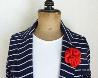 Crochet flower brooch shawlpin flower pin flower badge red flower pin brooch jewelry flower