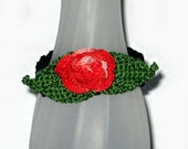 Last Rose of Summer SALE, Dramatic Crocheted Rose Bracelet, 7-1/2 Inches