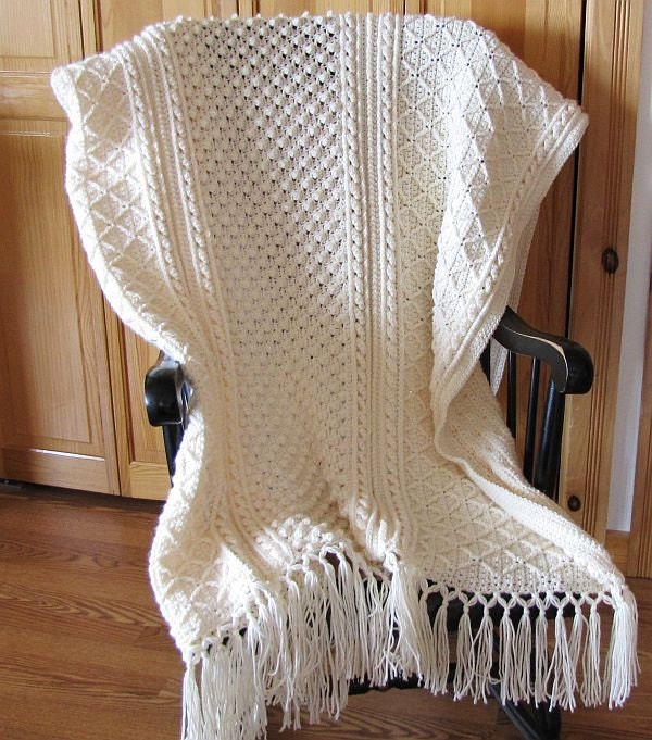 Crochet Knurl Stitch : Price reduced. Fisherman crochet Aran afghan by GrammiesHats