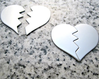 """1 1/4""""x1"""" (32MMx25MM) 2 Pc. Set Zig-Zag Broken Heart Stamping Blanks, 22g Stainless Steel - AWESOME Silver Alternative HBRK10-08"""