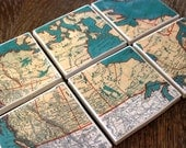 Vintage Turquoise Map Coasters - Canada Set of 6