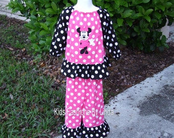 Bright Pink/Black Polka Dot  Peasant Top with Mouse/Bright Pink Polka Dot with Black Ruffle Pants Outfit