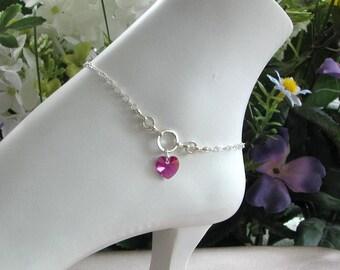 Birthstone Bracelet, Birthstone Ankle Bracelet, Birthstone Jewelry, Silver Anklet, Anklet, Silver Ankle Bracelet, Swarovski Jewelry