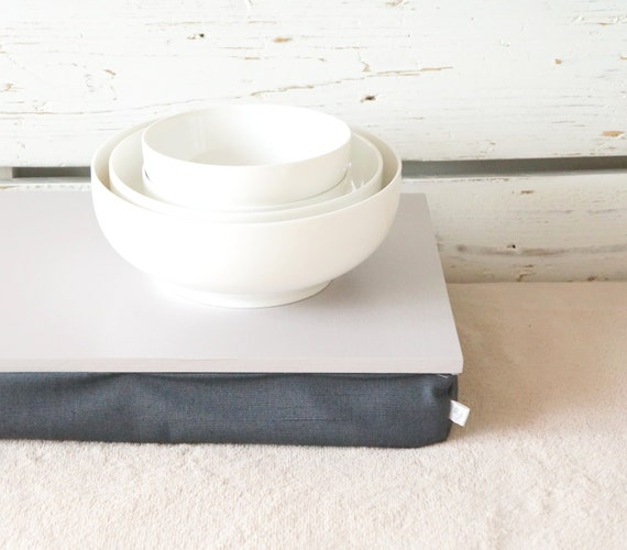 iPad stable table, breakfast in bed tray, or Laptop Lap Desk- light Grey with dark Grey pillow
