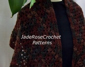 Crochet Shawl Pattern, Crochet Scarf Pattern, Beginner, easy   PDF 212
