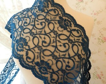 Embroidered Montana Blue Soft Lace ,Net Lace - Victorian, Lingerie, Wedding - By the Yard,  9 1/2 inches wide