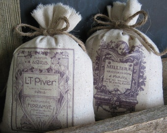 Lavender Sachets, Handmade Gifts, Vintage French Perfume Labels, French Farmhouse, Twine Ties, Set of Two