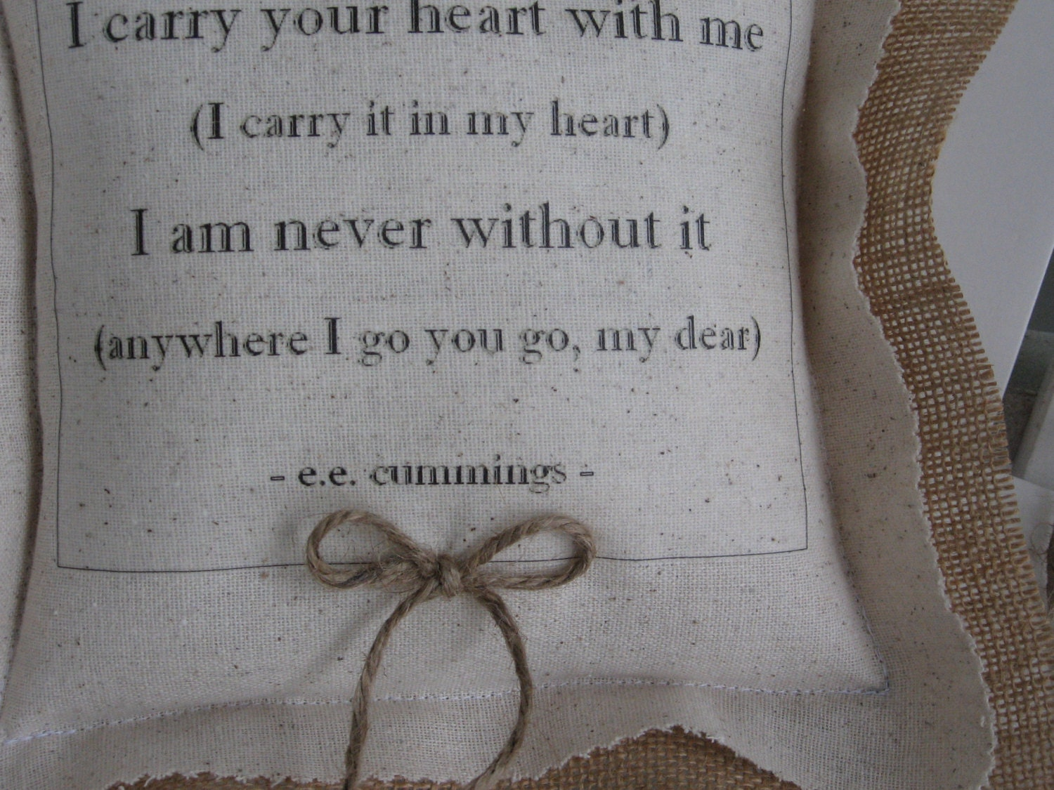 I Carry Your Heart Ring Bearer Pillows Ee Cummings Ring