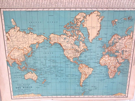 Items similar to World Map Map of The World 1940 39 s Map Vintage World M
