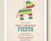 fiesta cinco de mayo pinata birthday invite PRINTABLE digital file DIY