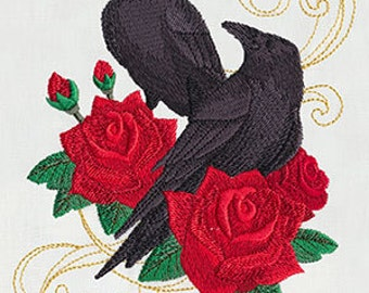 Ravens and Roses Steampunk Edgar Allan Poe Raven Embroidered Flour Sack Hand/Dish Towel