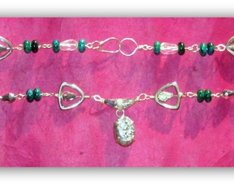 """Chrysocolla. Drusy Druzy. Crystal. Necklace. Silver Wire Wrapped. 20""""L"""