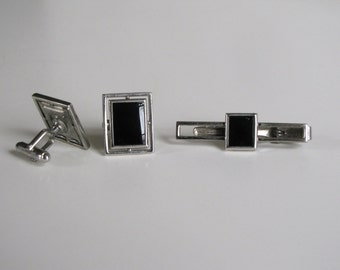 Vintage Cufflink and Tie Clip Set Silver Vintage by Anson 1960s