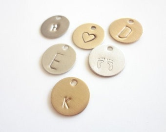 Add A Charm, Charms, Initials, Letters, Personalized, Monogram, Gold Brass, Silver, Discs, Brushed, Polished, Hand Stamped, Handmade Jewelry