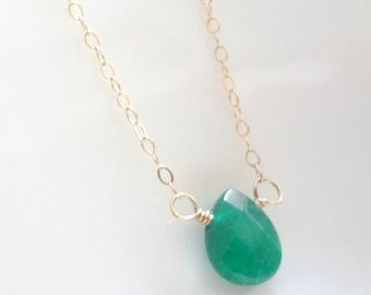 Emerald Necklace, Gold Filled, Sterling Silver, Chain, Necklace, Green, Charms, Teardrop, Bridal, Weddings, Handmade Jewelry