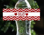 Valentine H20 Water  Party  Digital  Water Bottle Labels  PRINTABLE- Instant Download