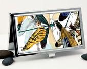 Business Card Case, Handmade Credit Card Case, Pocket Case or Wallet, Dragonfly Insect Design, Vintage Art
