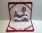 40th BIRTHDAY 3D Pop Up Roller Coaster Card CUSTOM ORDER Handmade in White and Bright Metallic Shimmery Red