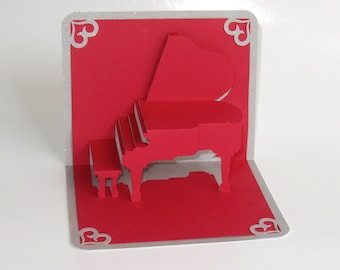 VALENTINE'S Grand Piano 3D Pop Up CARD Origamic Architecture Home Decoration Handmade Handcut in Red and Bright Shimmery Metallic Silver