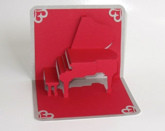 VALENTIN'ES Grand Piano 3D Pop Up CARD Origamic Architecture Home Decoration Handmade Handcut in Red and Bright Shimmery Metallic Silver