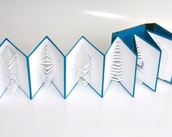 POP UP ACCORDION BOOk w/Hard Cover Binding Original Hand Cut Six Origamic Architecture Sculptures Home Decor In White, Blue and Gold OOaK