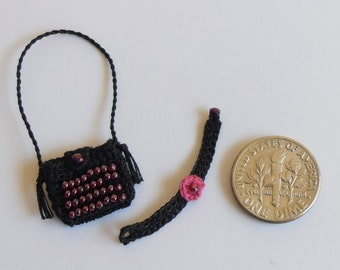 Dollhouse Miniature Shoulder Bag, Matching Neck Choker, 1:12 Scale Crocheted with Fine Black Crochet Cotton, Cerise Embroidery Thread, Beads