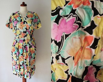Vintage Jumpsuit - Floral Romper - 1980's Overall - Size M