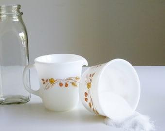 Vintage Pyrex, Cream and Sugar Set, Harvest Home Pattern, Gold on White, Cottage Dishes, Camper Dishes, Creamer, Sugar Dish