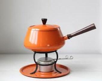 Bright Hermes Orange EnamelWare. Enamel Pot. Orange Fondue Pot. Danish Design. Atomic Design