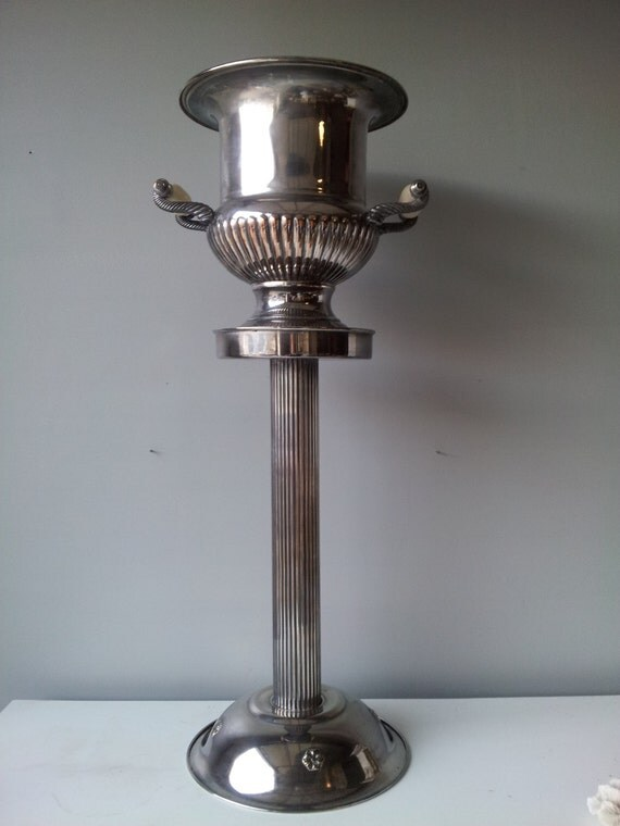 champagne bucket and stand  art deco eton silver plated