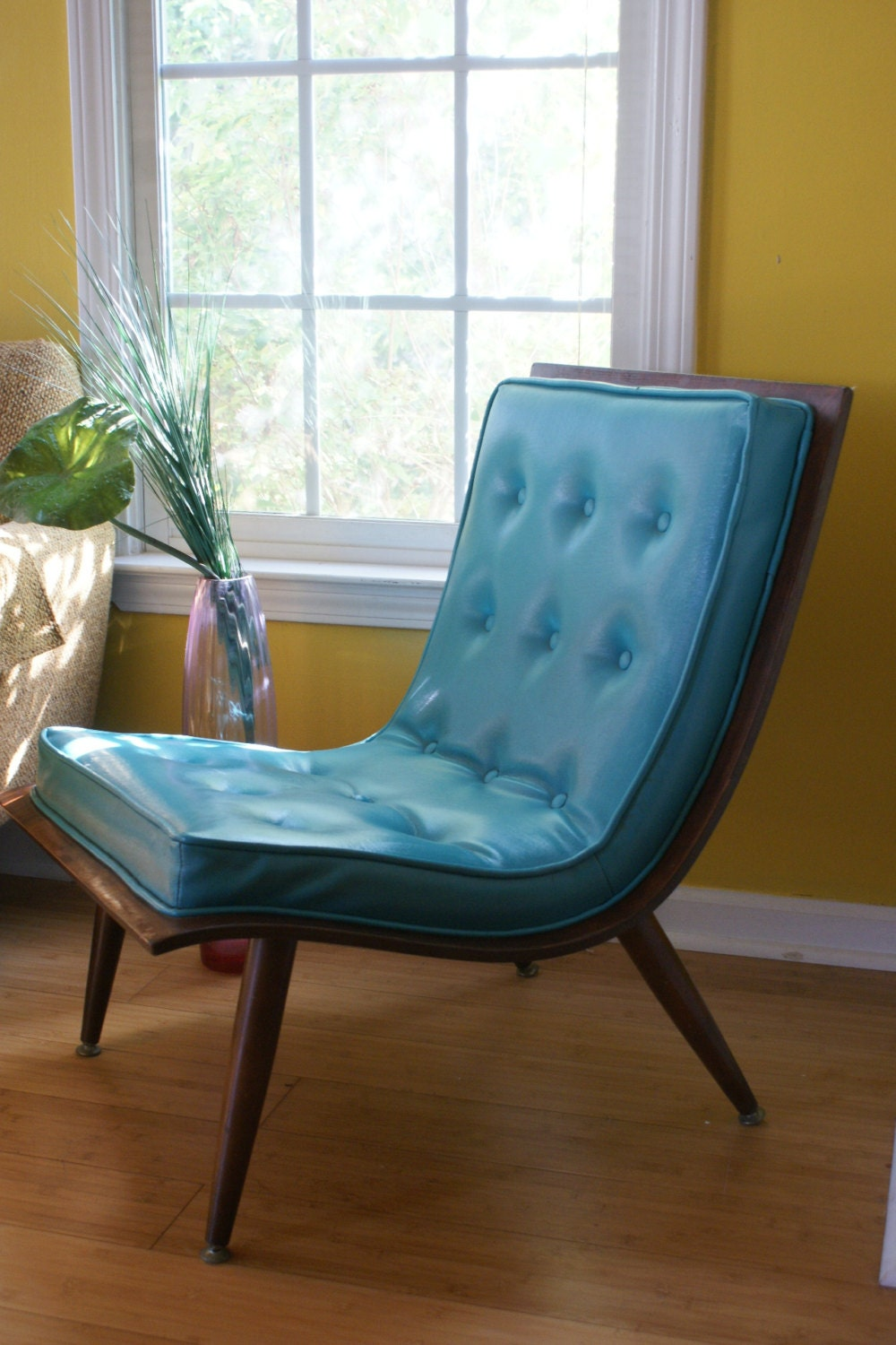 reduced mid century chair teal blue carter bro scoop chair. Black Bedroom Furniture Sets. Home Design Ideas