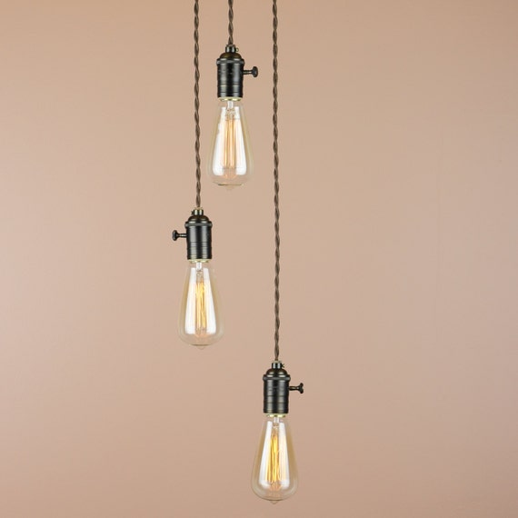 Reserved for Simon - Chandelier Lighting - Cascading Pendant Lights with Edison Light Bulbs - Custom Order