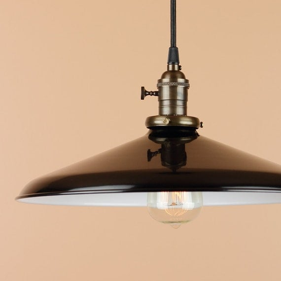 Barn Light Socket: 14 Inch Pendant Light Black Porcelain Enamel Finish