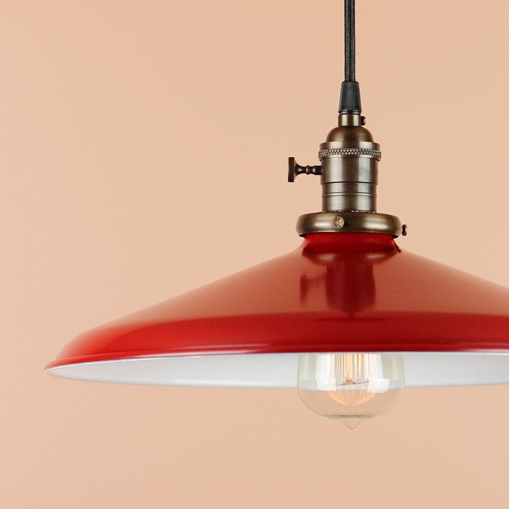 Pendant Lighting W/ 14 RED Porcelain Enamel Finish