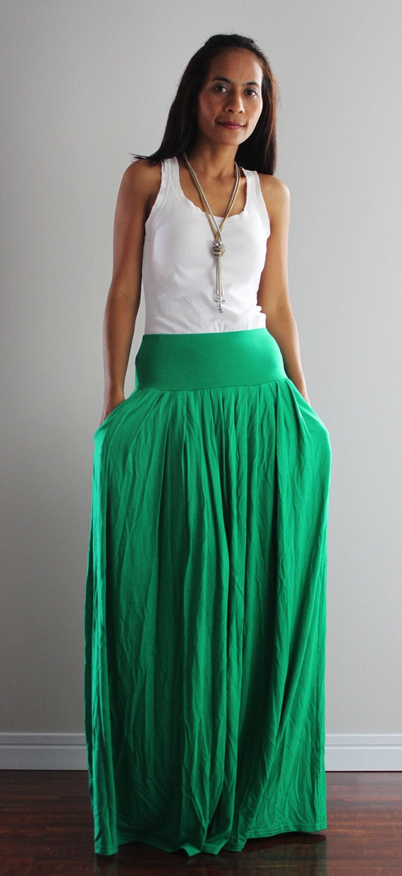 Maxi Skirt Long Green Skirt : Autumn Thrills Collection