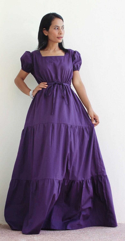 Purple Bridesmaids Dress Cap Sleeve Maxi Dress Long Summer
