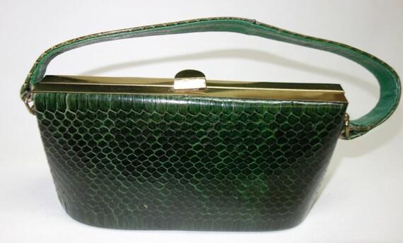 SALE 40s BASS Green Cobra Snakeskin Box Purse