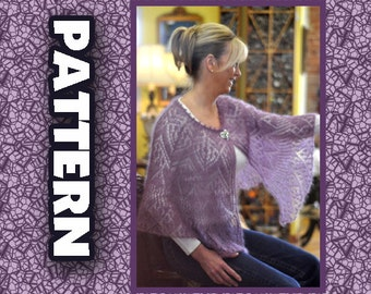 PDF Pattern, Lace Shawl, Blue Heron Yarn, Lace weight mohair